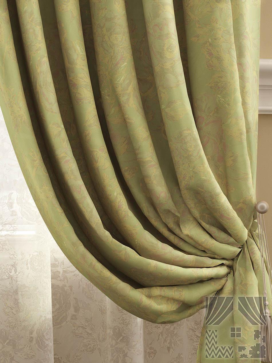 Шторы ТомДом Классические шторы Арсиа Цвет: Горчично-оливковый