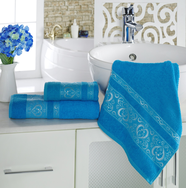 Полотенца Karna Полотенце Elza Цвет:  Бирюзовый (70х140 см) полотенца karna полотенце iteka цвет коричневый 70х140 см