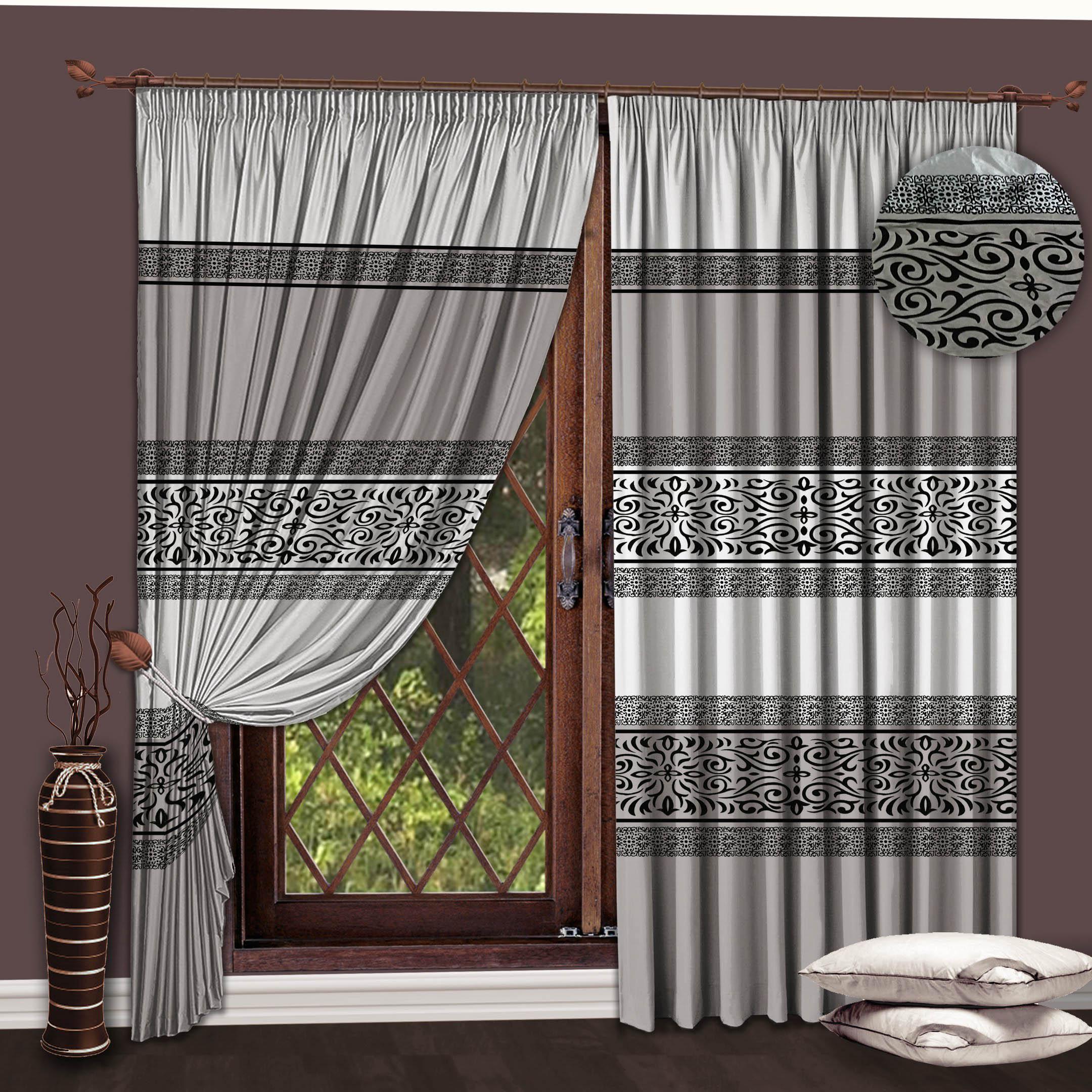 Шторы РеалТекс Классические шторы Essence Цвет: Серый-Черный шторы реалтекс классические шторы alberta цвет персиковый молочный
