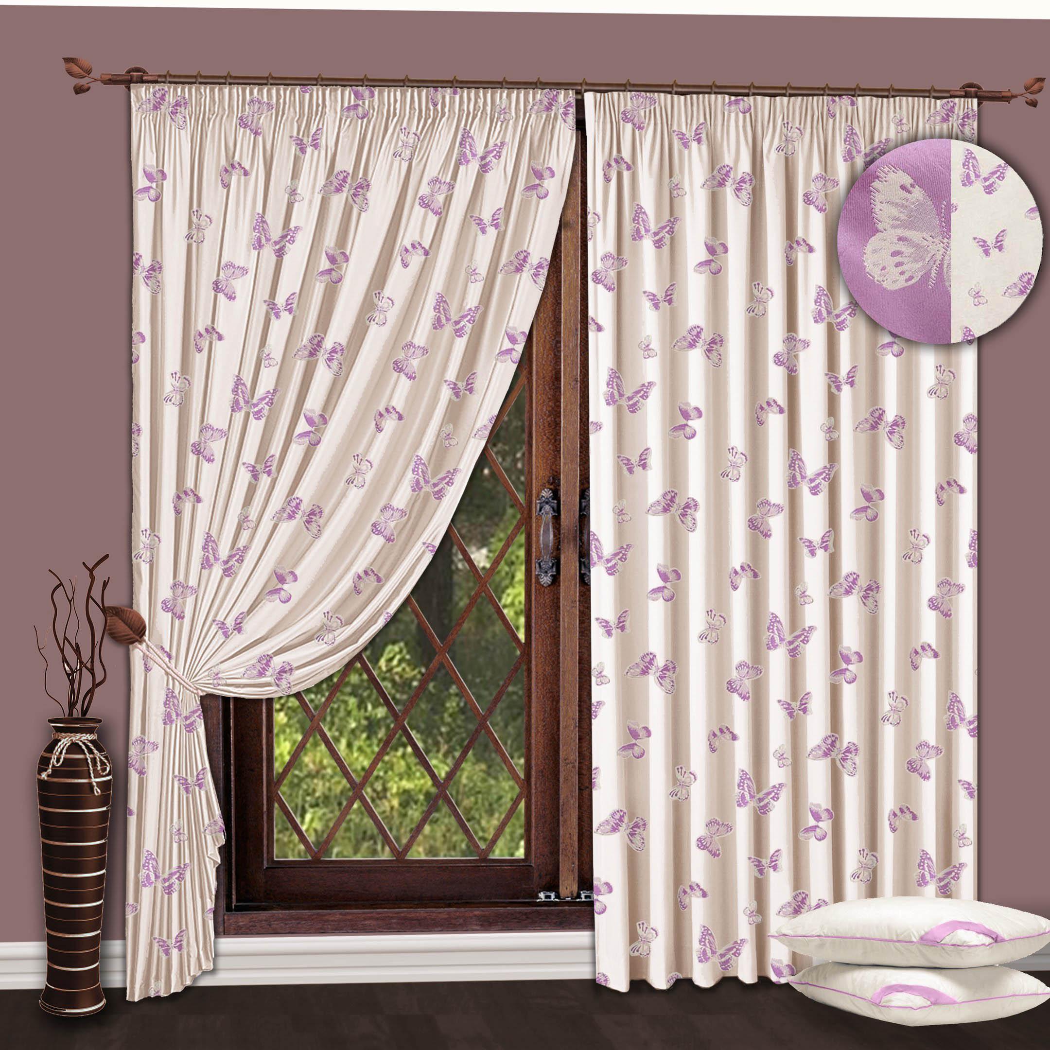 Шторы РеалТекс Классические шторы Бабочки Цвет: Молочный-Сиреневый шторы реалтекс классические шторы alberta цвет персиковый молочный