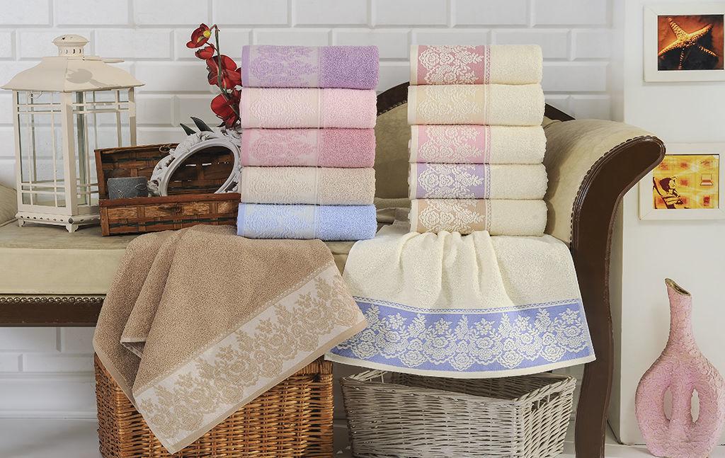 Полотенца Brielle Полотенце Garden Цвет: Кремовый-Розовый (70х140 см)