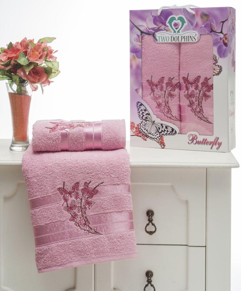 где купить Полотенца Two Dolphins Полотенце Butterfly Цвет: Розовый (50х90 см,70х140 см) по лучшей цене