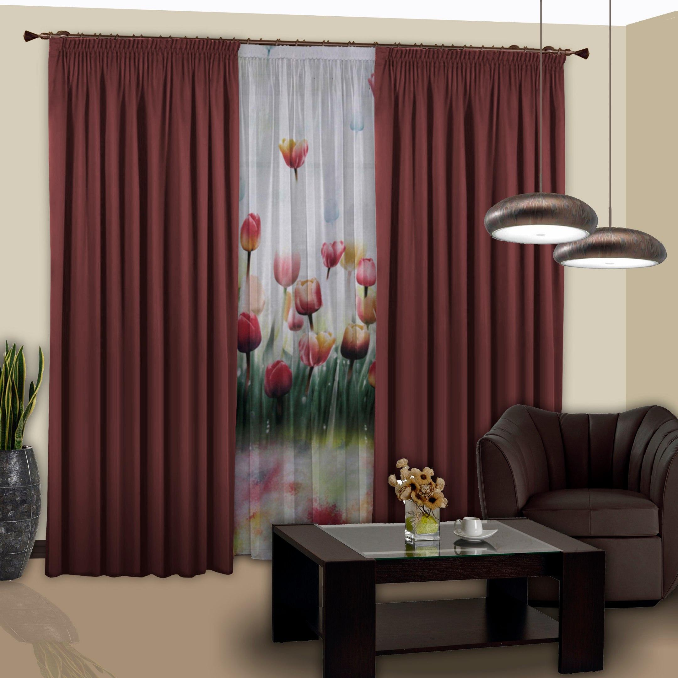 Шторы РеалТекс Классические шторы Saundra Цвет: Бордовый шторы реалтекс классические шторы alberta цвет персиковый молочный