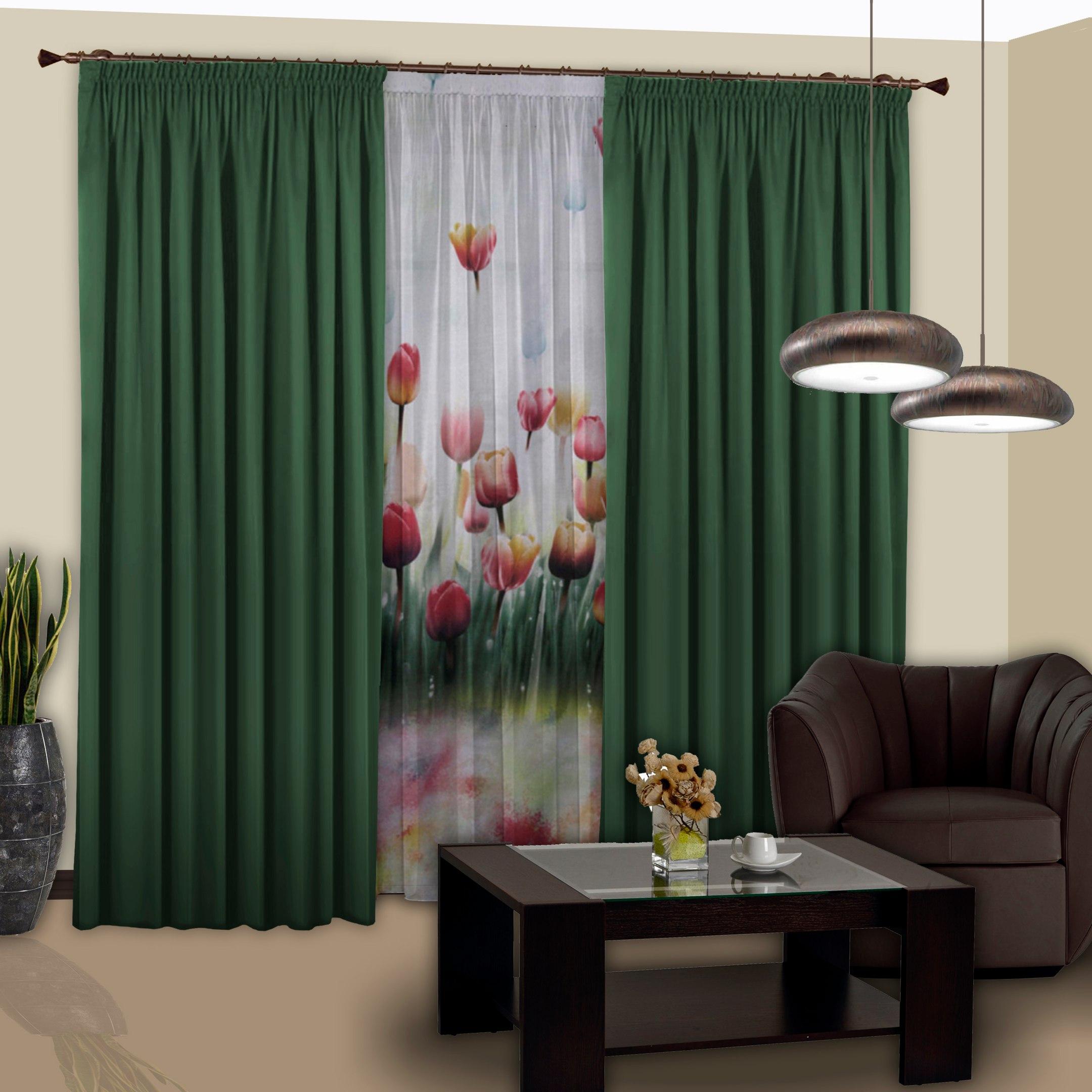 Шторы РеалТекс Классические шторы Saundra Цвет: Темно-Зеленый шторы tac классические шторы winx цвет персиковый 200x265 см