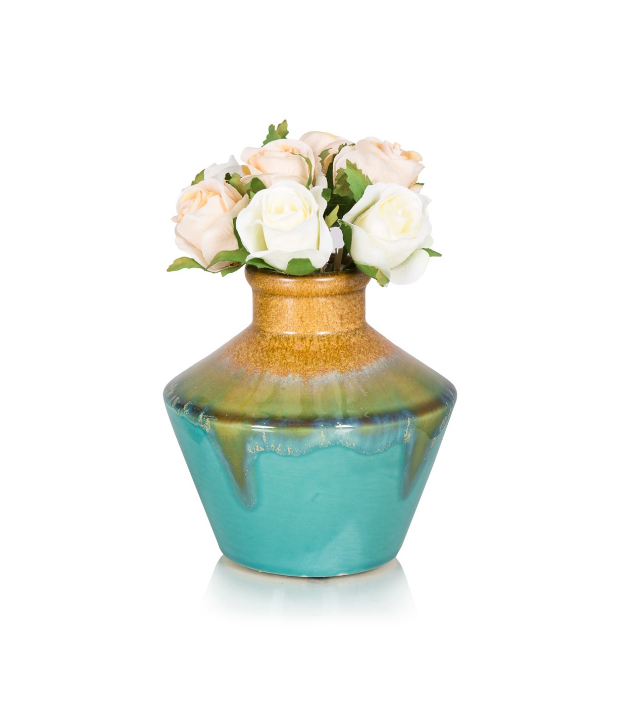 {} Home Philosophy Ваза Evien Цвет: Бирюзовый-Бежевый (14х15 см) home philosophy ваза mariana цвет молочный набор