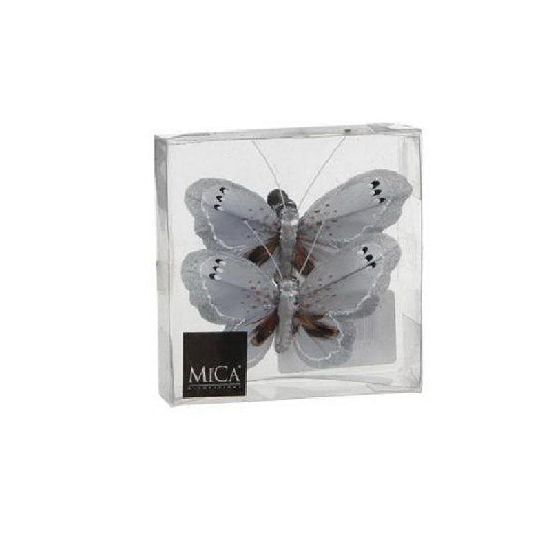 {}  Фигурка Бабочка Цвет: Светло-Серый (8 см - 2 шт) ollin professional зажимы бабочка 12 шт 2 вида зажимы бабочка 12 шт 2 вида 12 шт 55 мм