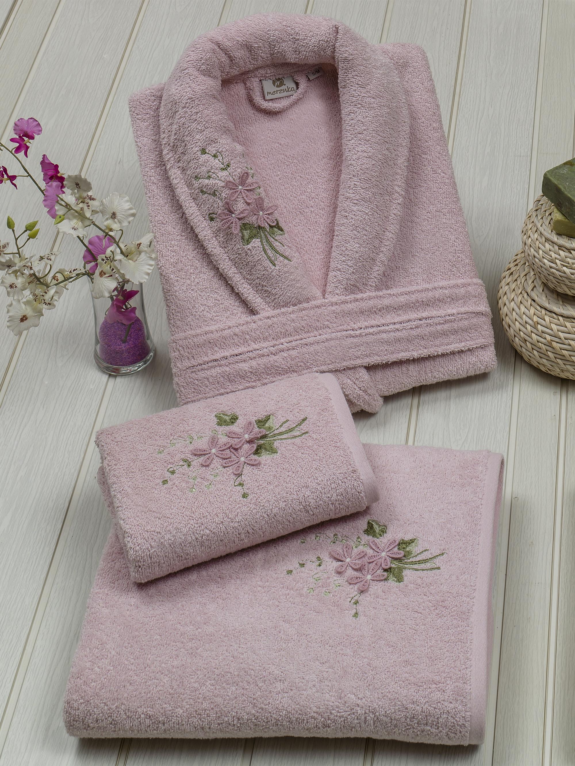 Сауны, бани и оборудование Oran Merzuka Халат Kamelot Цвет: Розовый (S) набор из 3 полотенец merzuka sakura 50х90 2 70х140 8432 оранжевый