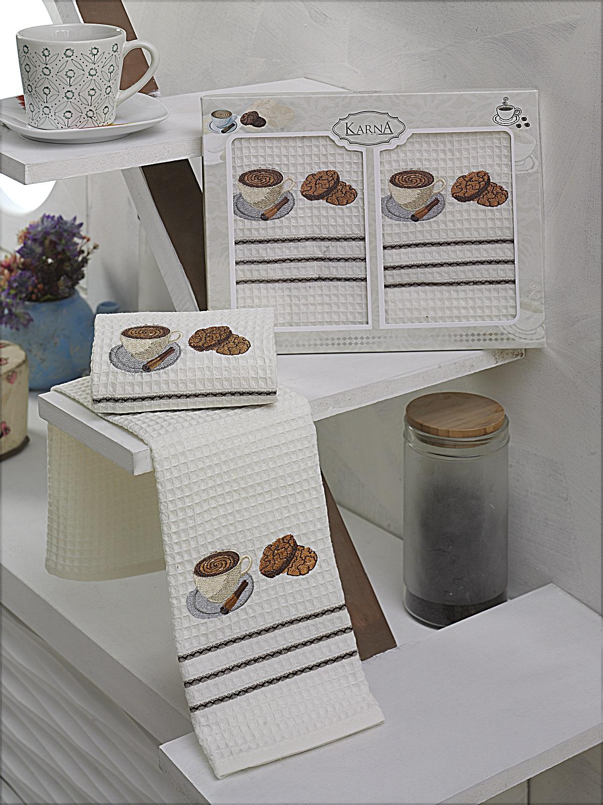 {} Karna Кухонное полотенце Votre V2 (40х60 см - 2 шт) bon appetit кухонное полотенце cake цвет голубой 40х60 см 2 шт