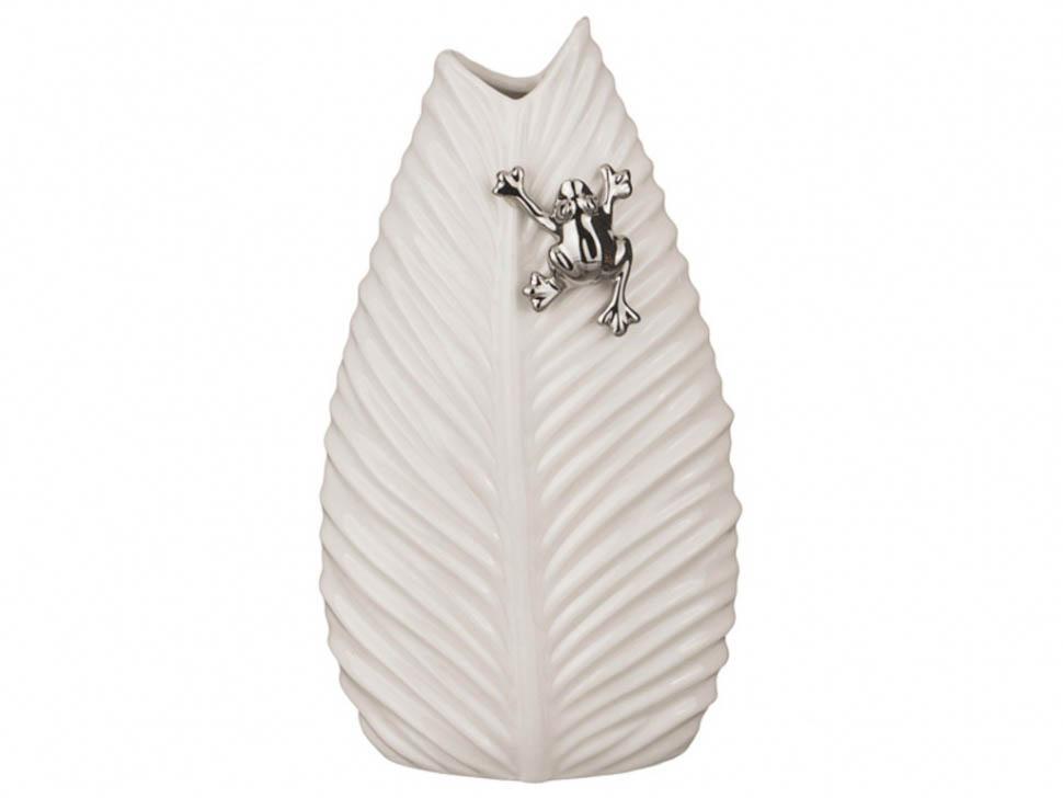 {} Arti-M Ваза Лист Цвет: Молочный (9х14х24 см) ваза керамическая 14 х 9 х 30 см