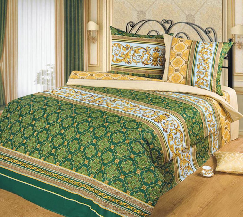 Постельное белье ТК Хлопковый Рай Постельное белье Аристократ Цвет: Зеленый (семейное)