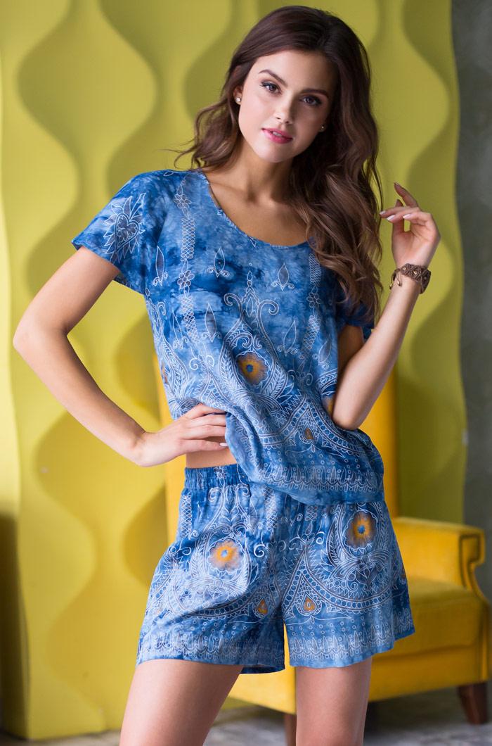 Костюмы для дома и отдыха Mia-Mia Костюм для дома Gloria Цвет: Синий (S) костюмы mia mia комплект шорты топ