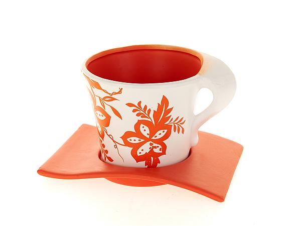 {} ENS GROUP Горшок с поддоном Оранжевый Узор (11х13 см) ens group горшок для цветов осень набор