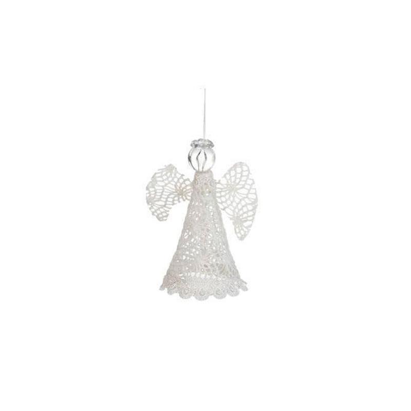 {}  Декоративная подвеска Кружевной Ангел Цвет: Белый (10х13 см) сказки дерева подвеска ангел на луне