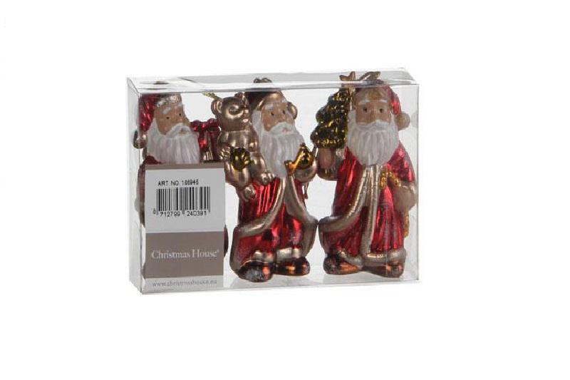 {}  Набор шаров Дед Мороз (8 см - 3 шт) набор шаров 60мм 20шт стекло золото коричневый