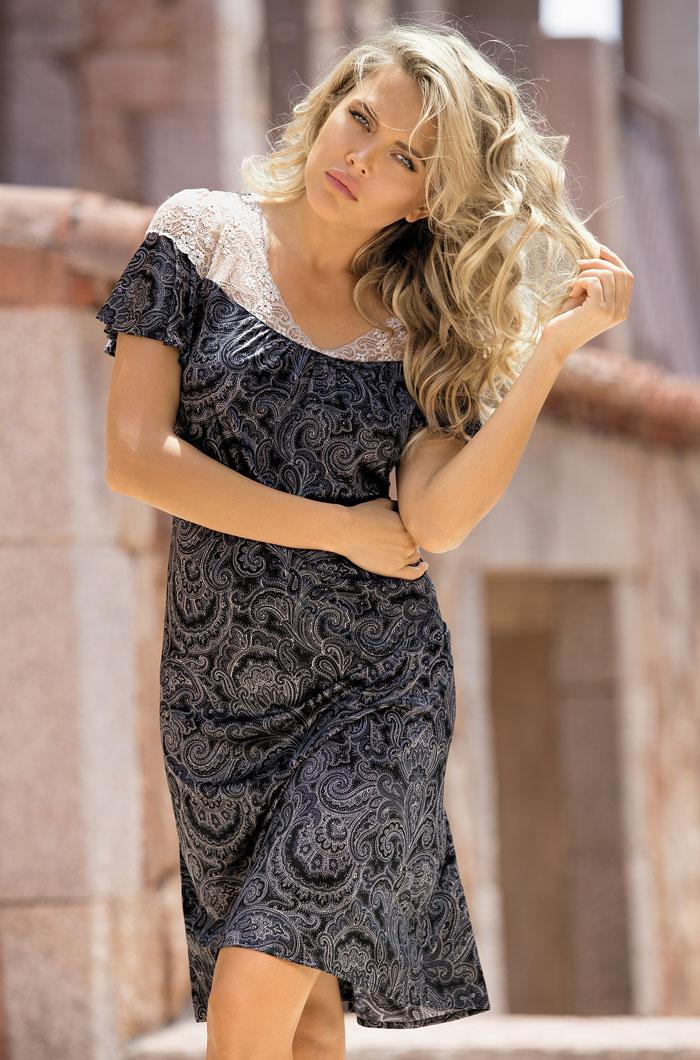 Ночные сорочки Mia-Mia Ночная сорочка Nicoletta Цвет: Сирия (xxxL) ночная сорочка и стринги soft line carmen красные xxxl