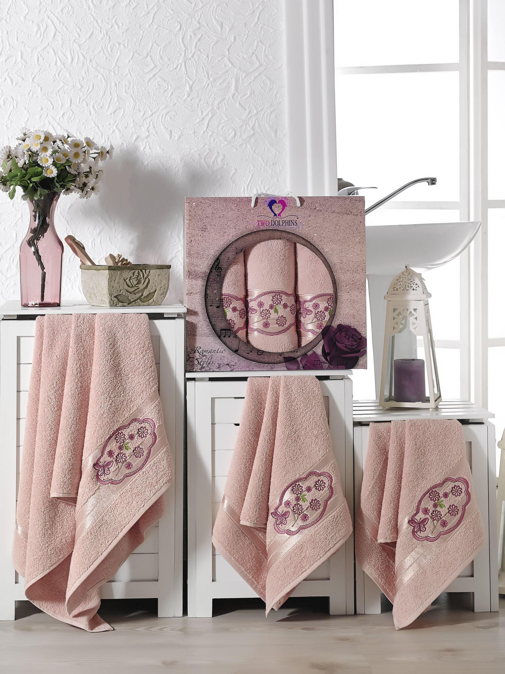 Полотенца Two Dolphins Полотенце Romantic Styles Цвет: Пудра (50х90 см - 2 шт,70х140 см) набор из 3 полотенец merzuka sakura 50х90 2 70х140 8432 терракотовый