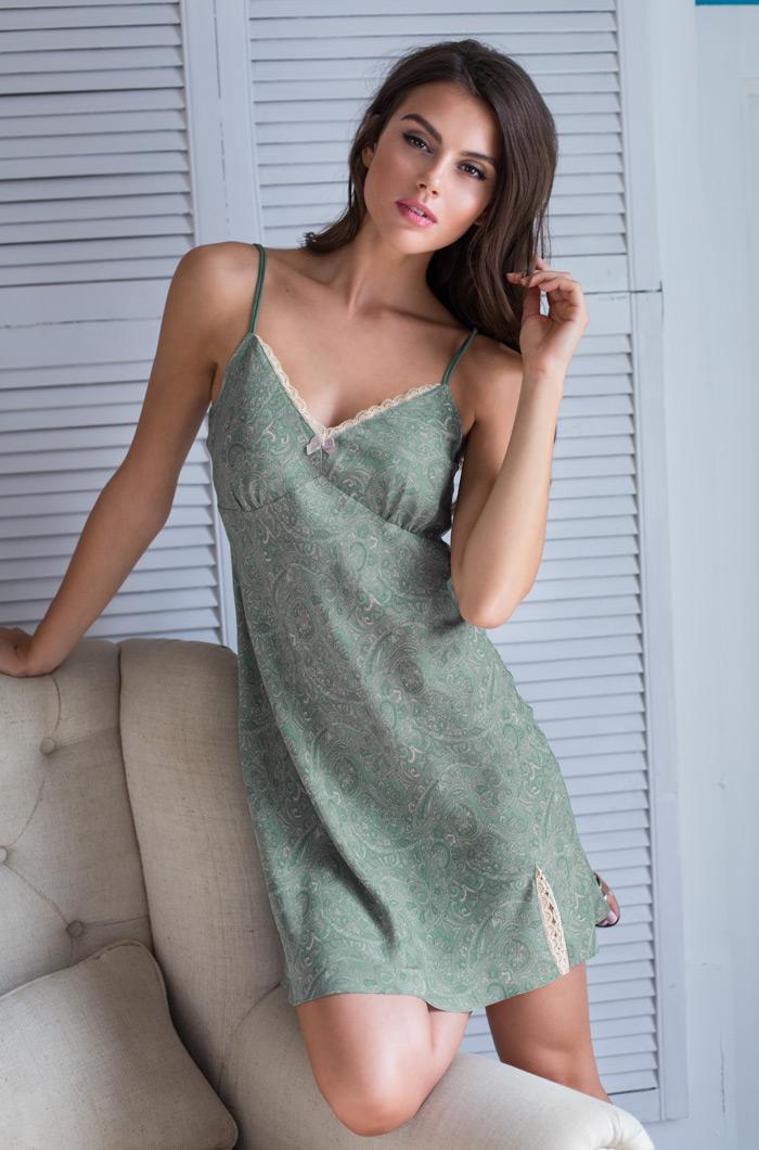Ночные сорочки Mia-Mia Ночная сорочка Olivia Цвет: Оливковый (xS) туники сарафаны mia mia туника olivia цвет оливковый l