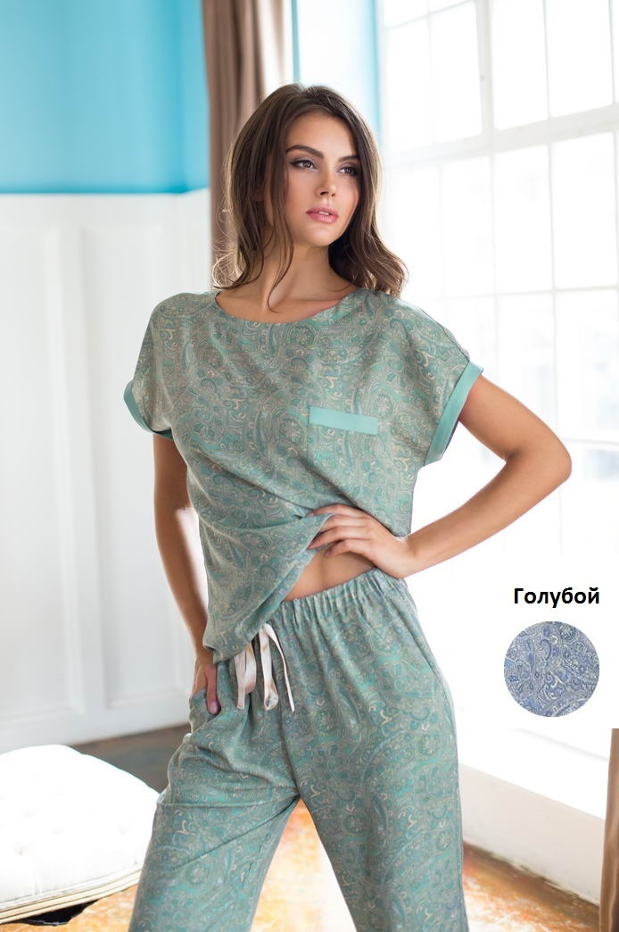 Пижамы Mia-Mia Пижама Olivia Цвет: Голубой (L) пижамы mia cara пижама paisley цвет розовый m l
