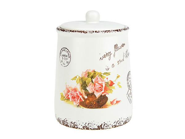 {} ENS GROUP Банка для сыпучих Персиковая Роза (12х18 см) банка для сыпучих продуктов ens group чайная роза 800 мл