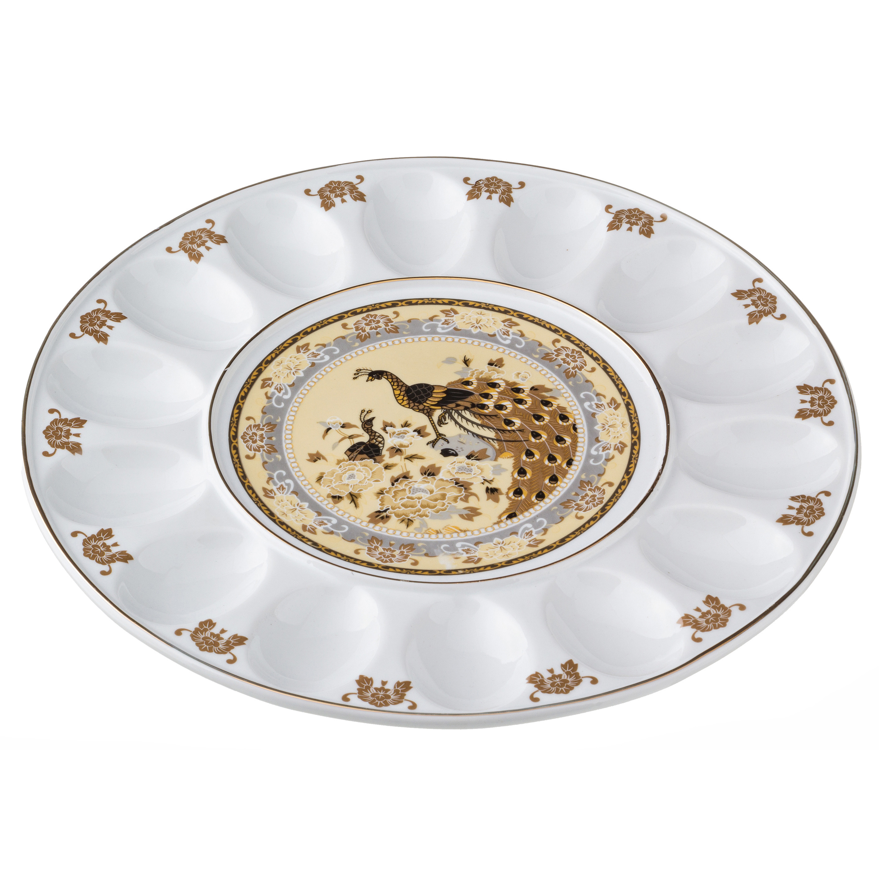 {} Arti-M Тарелка для яиц Бежевый Павлин (2х30 см)