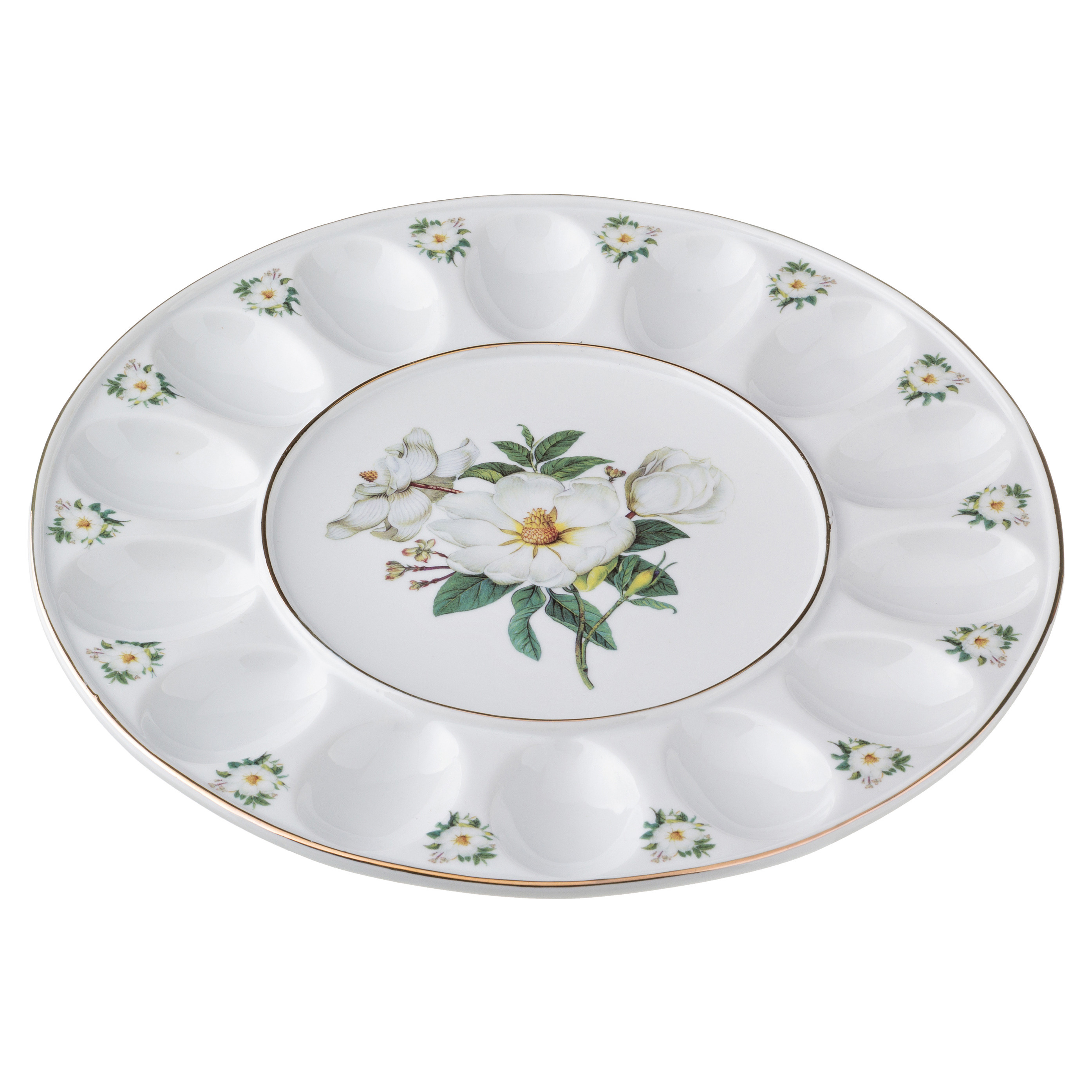{} Arti-M Тарелка для яиц Белый Шиповник (2х30 см)