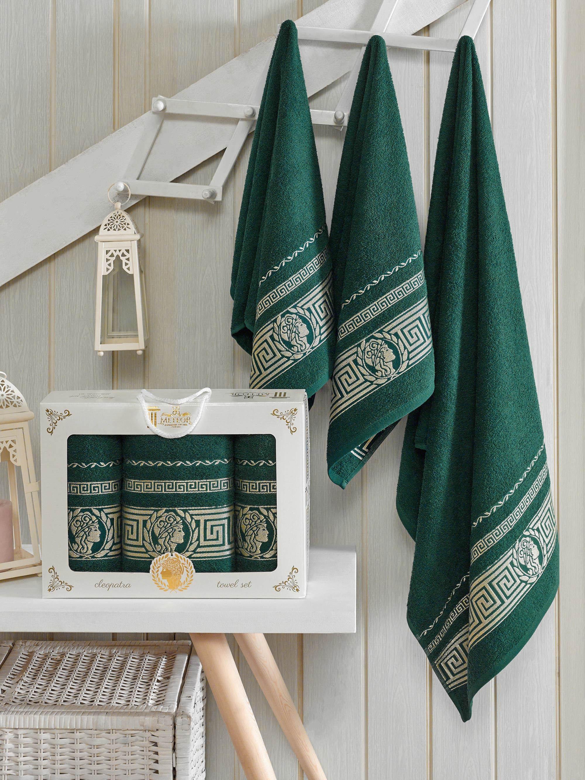 где купить Полотенца Meteor Полотенце Cleopatra Цвет: Темно-Зеленый (50х90 см - 2 шт,70х140 см) по лучшей цене