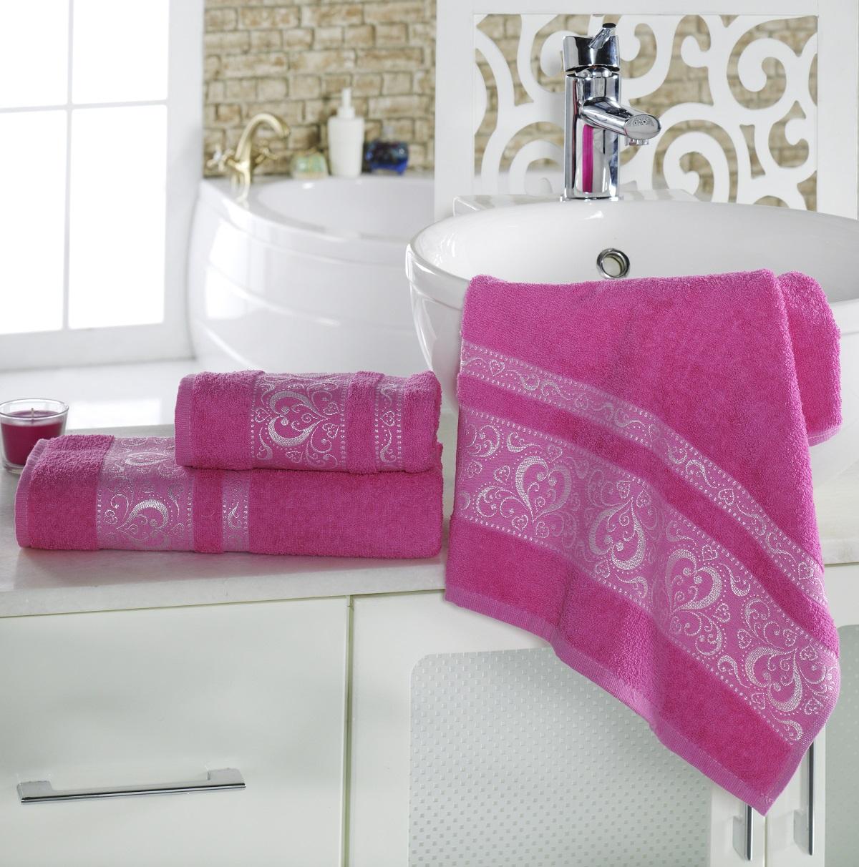 где купить Полотенца Karna Полотенце Elza Цвет:  Малиновый (50х90 см) по лучшей цене