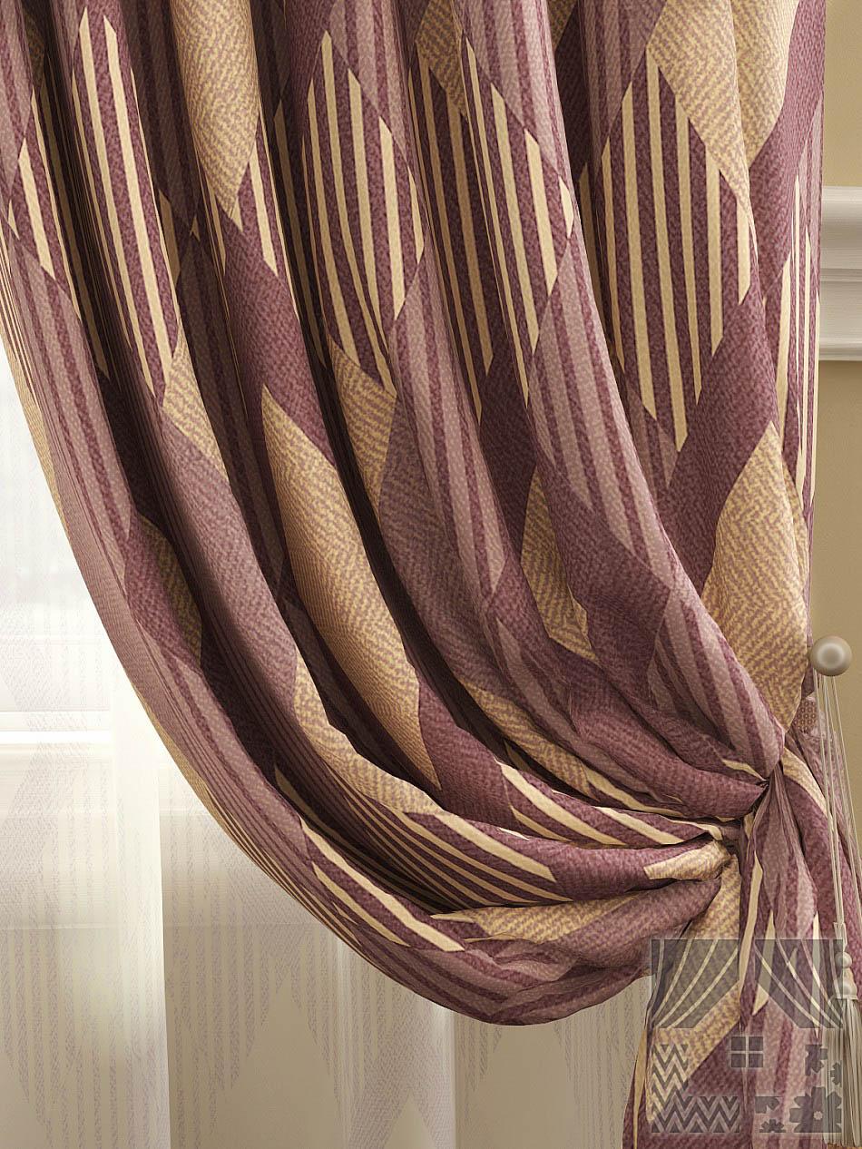 Шторы ТомДом Классические шторы Люсен Цвет: Бежево-винный шторы tac классические шторы winx цвет персиковый 200x265 см