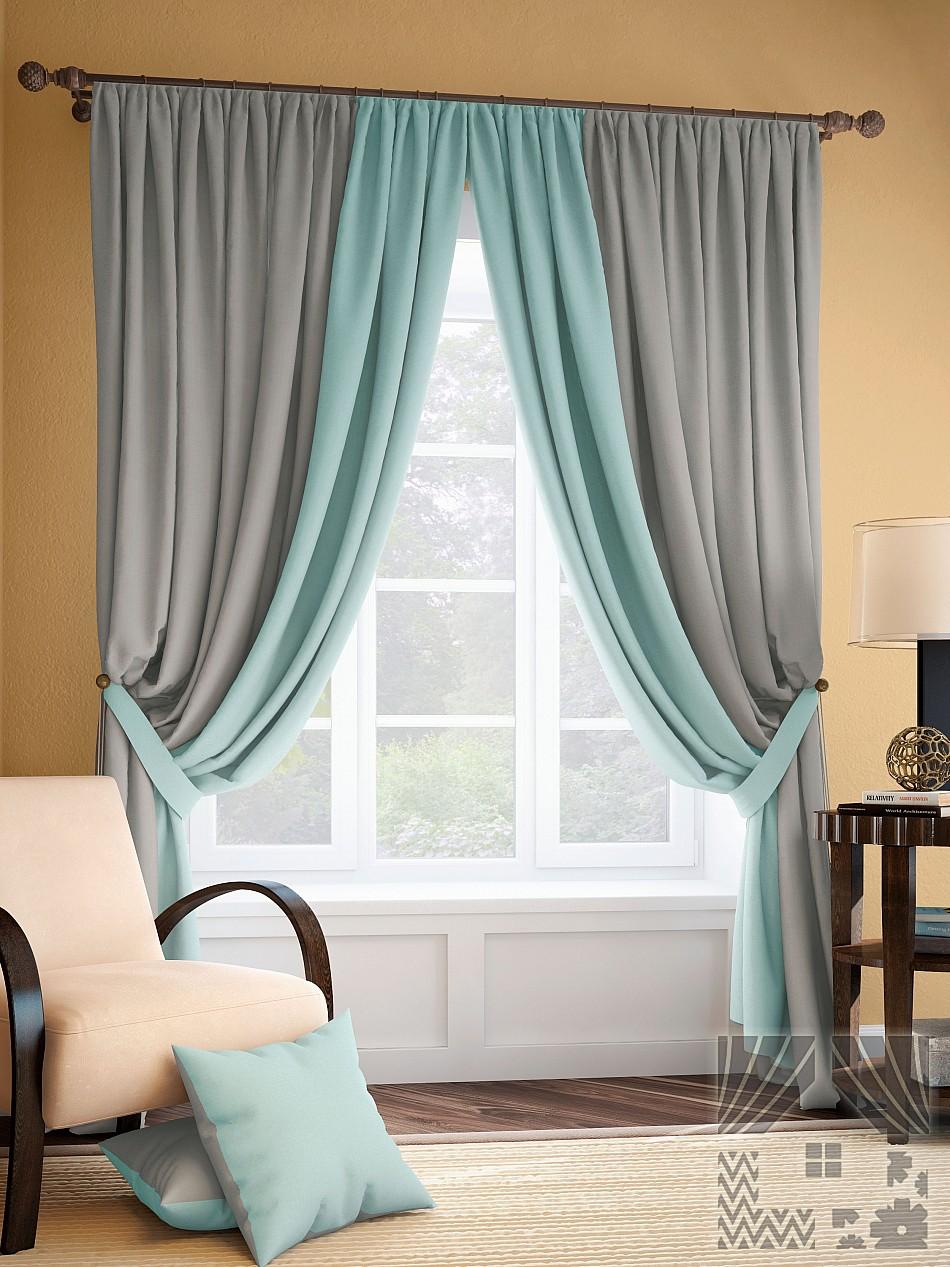 Шторы ТомДом Классические шторы Фонти Цвет: Серо-Бирюзовый шторы томдом классические шторы керид цвет бирюзовый