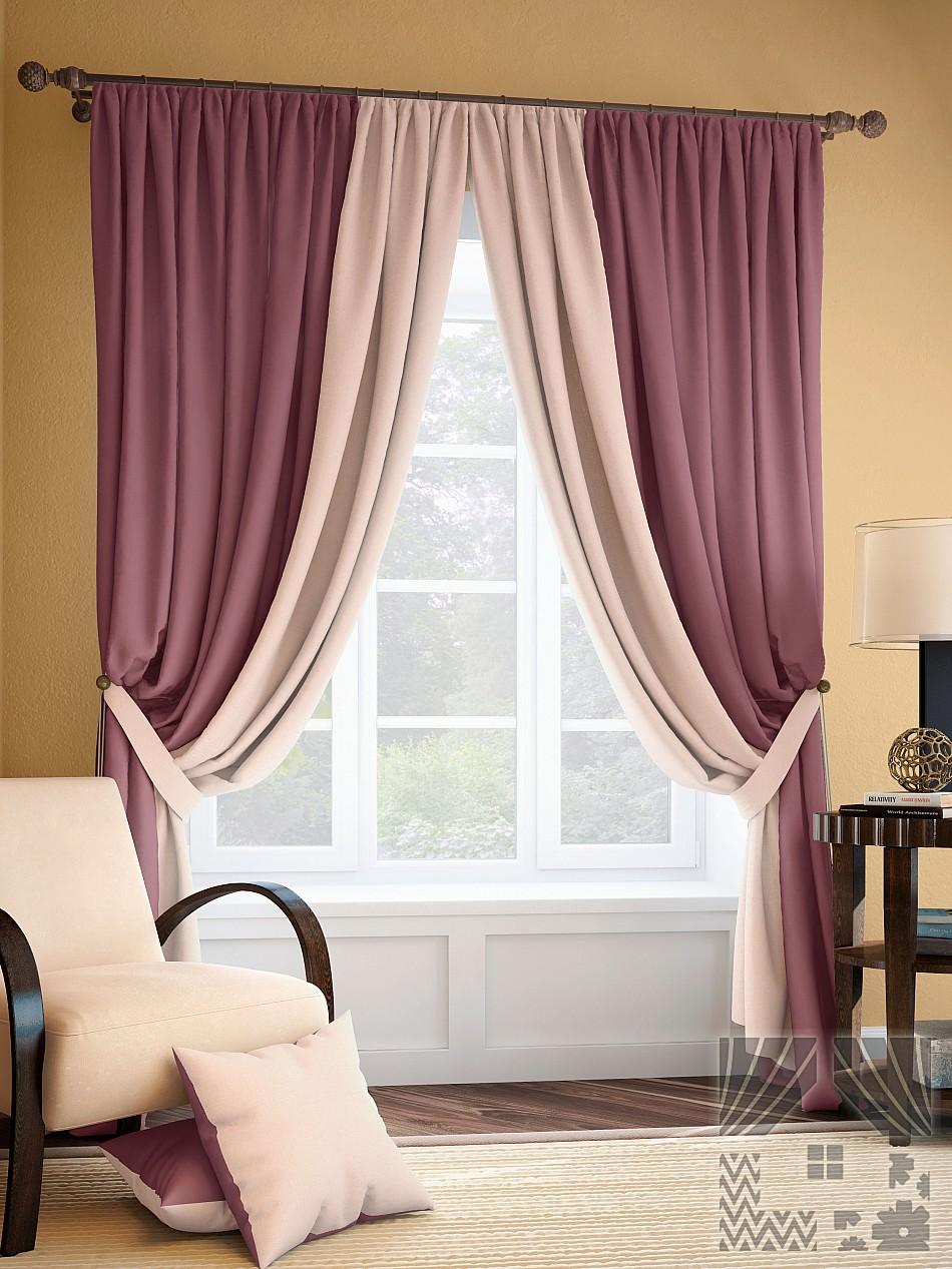 Шторы ТомДом Классические шторы Фонти Цвет: Розово-Сливочный