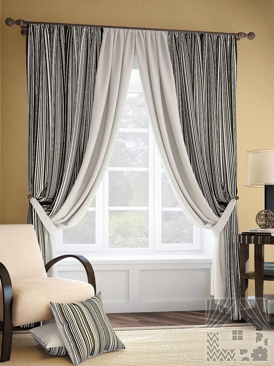 Шторы ТомДом Классические шторы Мариям Цвет: Черно-Серый