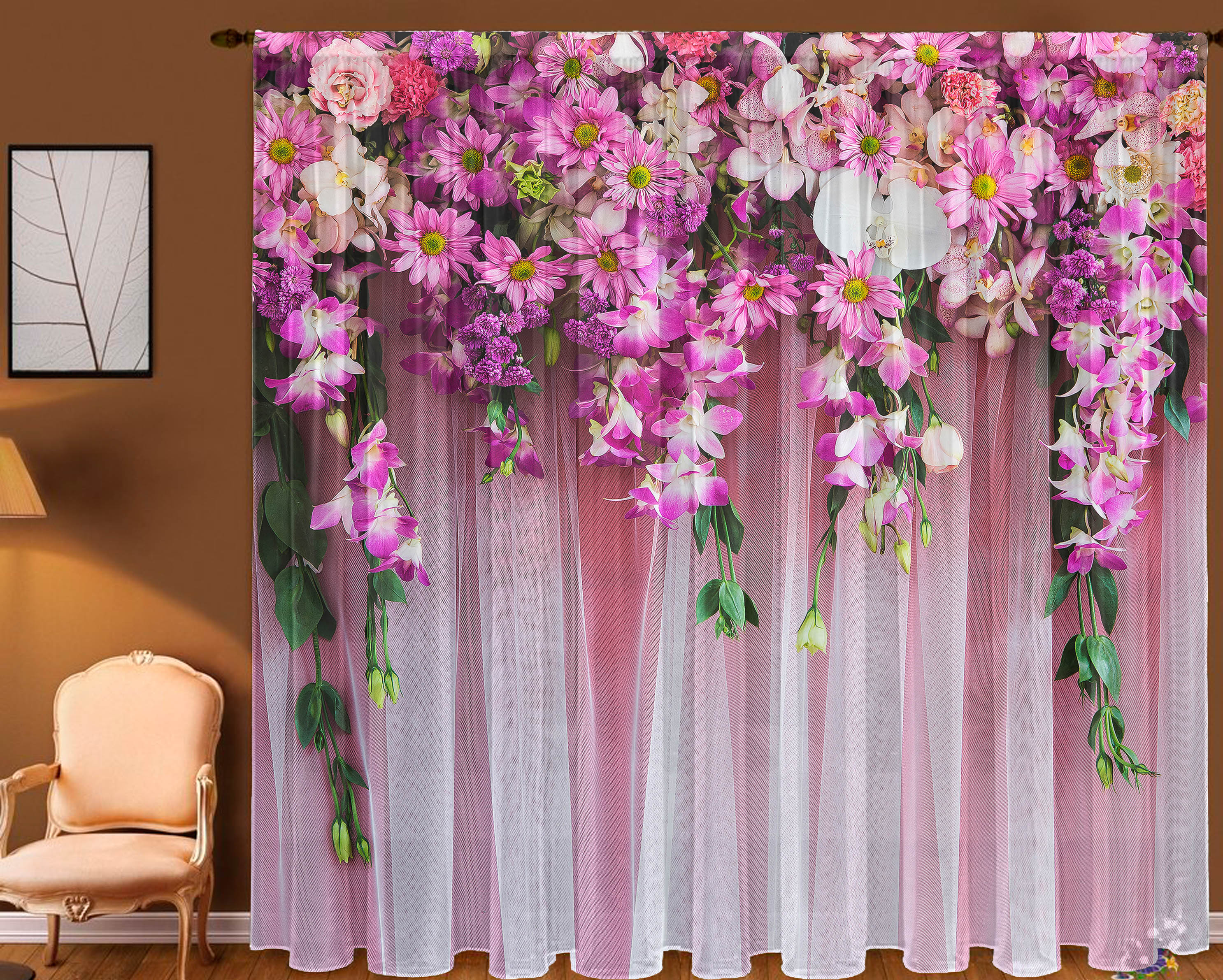 Шторы Zlata Korunka Фототюль Ламбрекен Из Цветов шторы zlata korunka фототюль уютный вечер