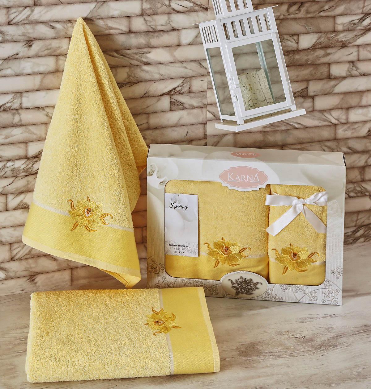 Полотенца Karna Полотенце Spray Цвет: Светло-Желтый (Набор) наматрасник karna с пропиткой 120x200 см