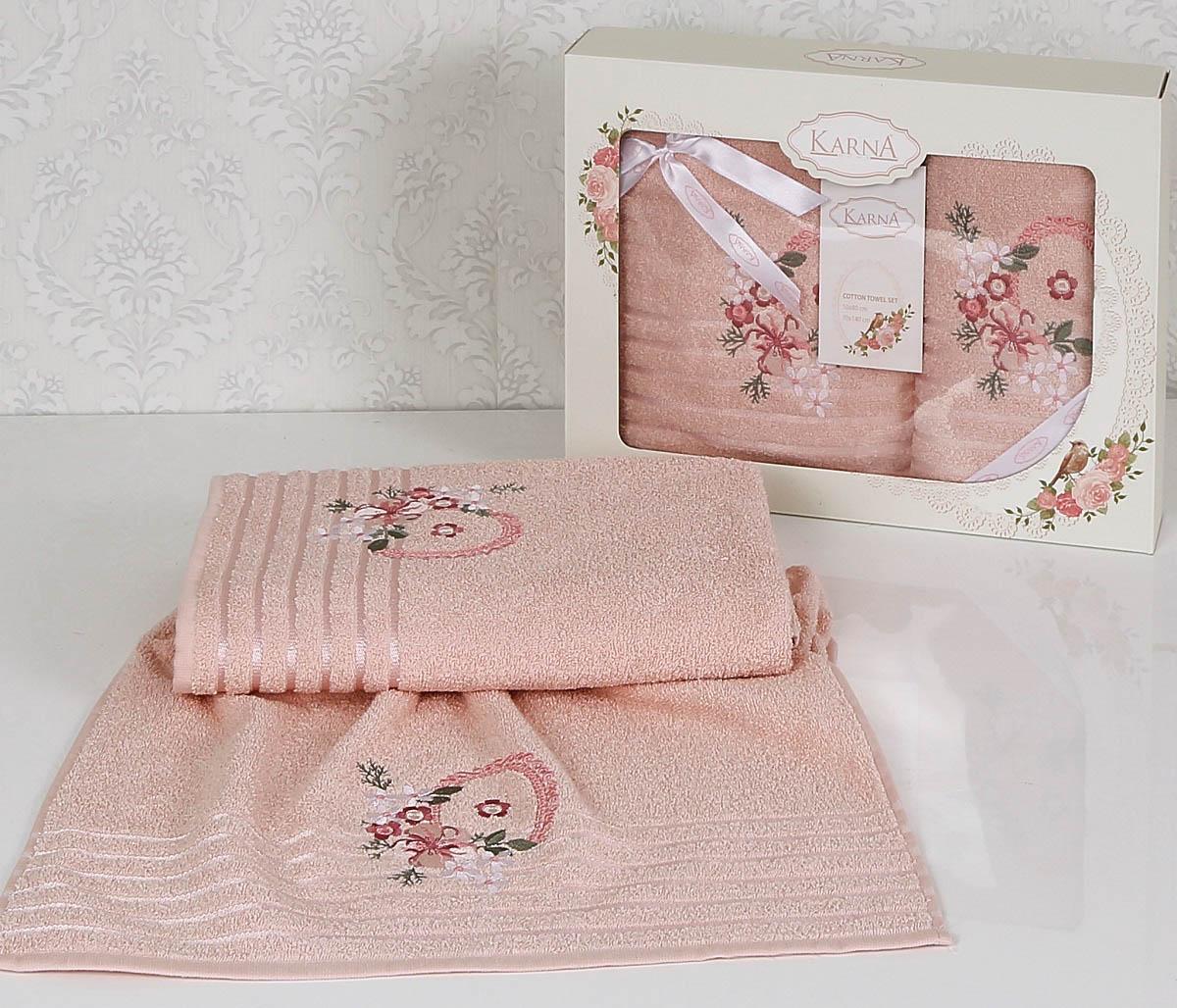 Полотенца Karna Полотенце Camile Цвет: Пудра (Набор) покрывало karna rose с вышивкой пудра 200х220 см
