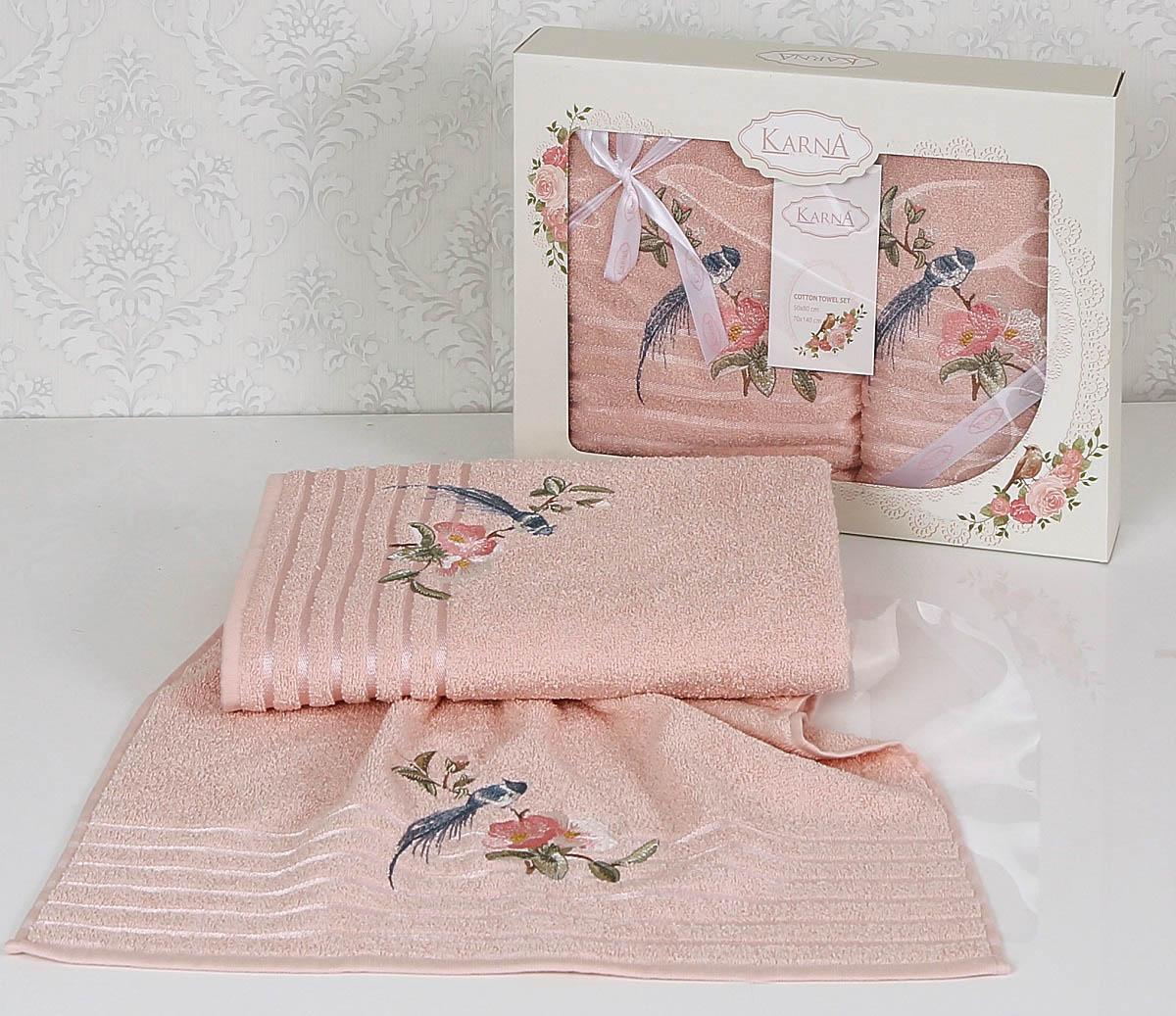 Полотенца Karna Полотенце Este Цвет: Пудра (Набор) покрывало karna rose с вышивкой пудра 200х220 см