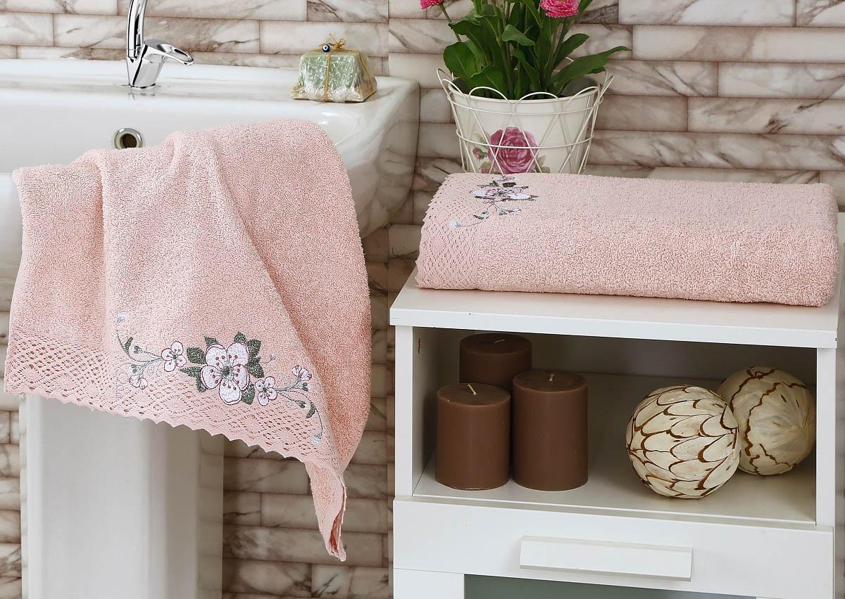 Полотенца Karna Полотенце Suena Цвет: Пудра (Набор) покрывало karna rose с вышивкой пудра 200х220 см