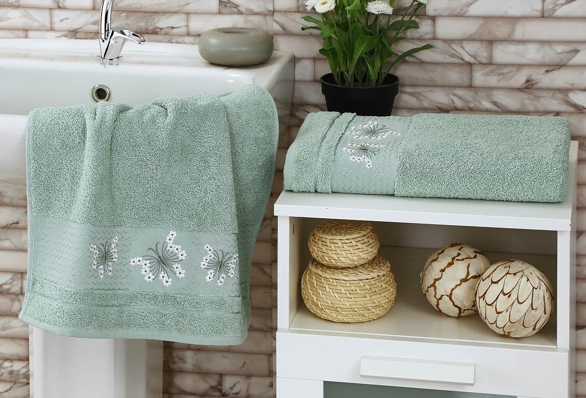 где купить Полотенца Karna Полотенце Bianca Цвет: Зеленый (Набор) по лучшей цене