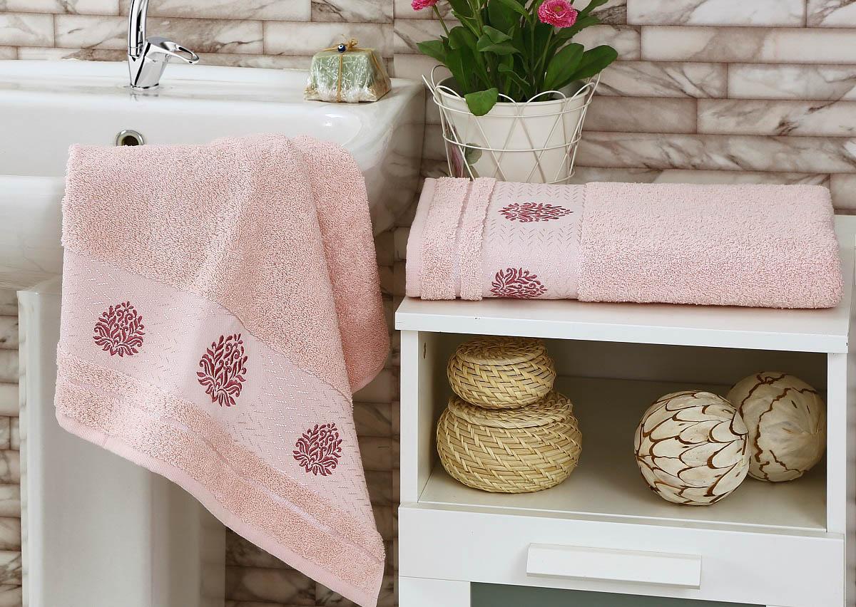 Полотенца Karna Полотенце Devon Цвет: Пудра (Набор) покрывало karna rose с вышивкой пудра 200х220 см