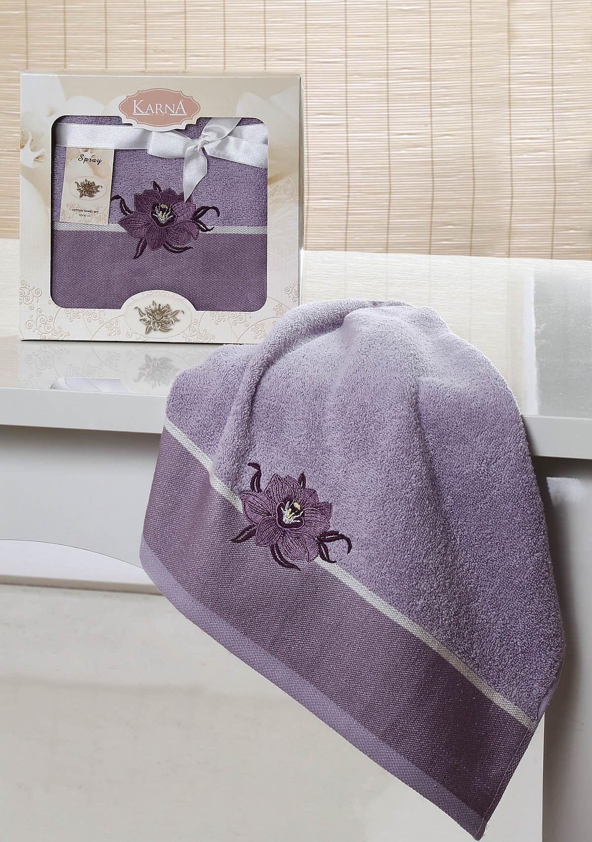 Полотенца Karna Полотенце Spray Цвет: Светло-Сиреневый (50х90 см) полотенце ecotex лайфстайл 70x130 светло сиреневый t 02 l светло сиреневый