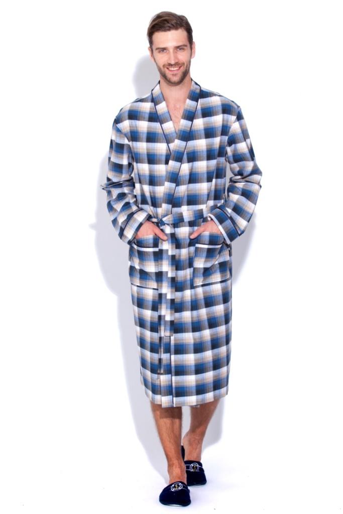 Сауны, бани и оборудование Peache Monnaie Халат Scotland Цвет: Темно-Синий, Кремовый (xL) купить шелковый халат мужской спб