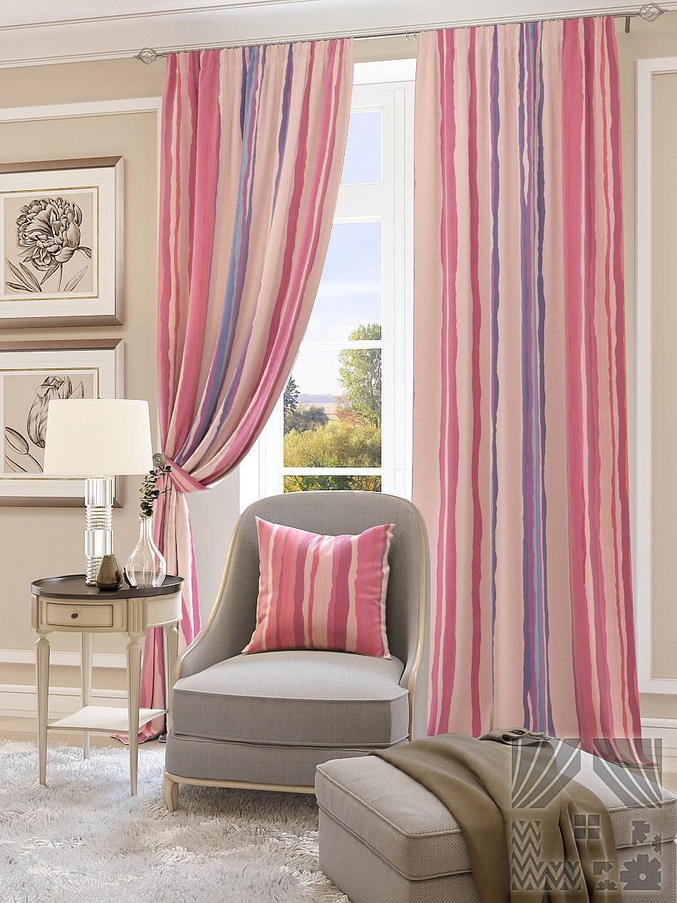 Шторы ТомДом Классические шторы Мината Цвет: Розовый шторы tac классические шторы глянец цвет портьер розовый цвет тюля белый с бежевой полоской