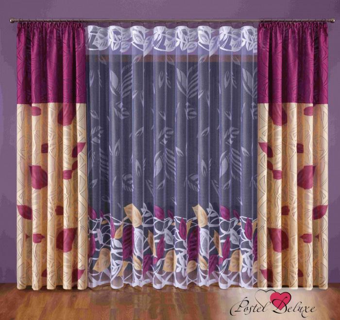 Шторы Wisan Классические шторы Цвет: Бордовый, Кремовый шторы tac классические шторы winx цвет персиковый 200x265 см