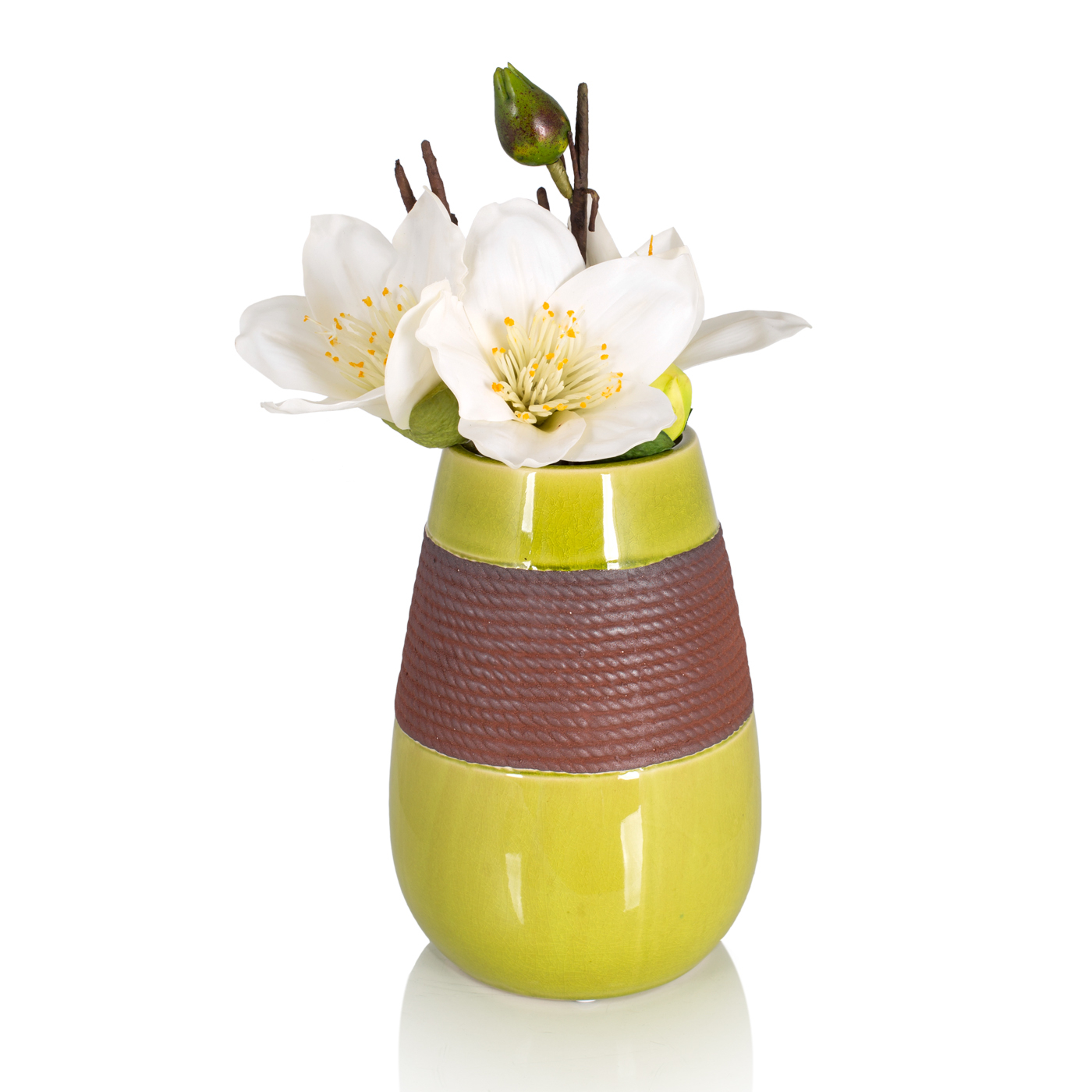 {} Home Philosophy Ваза Carima Цвет: Зелено-Коричневый (17х17х26 см) ваза кружева цветов 26 см