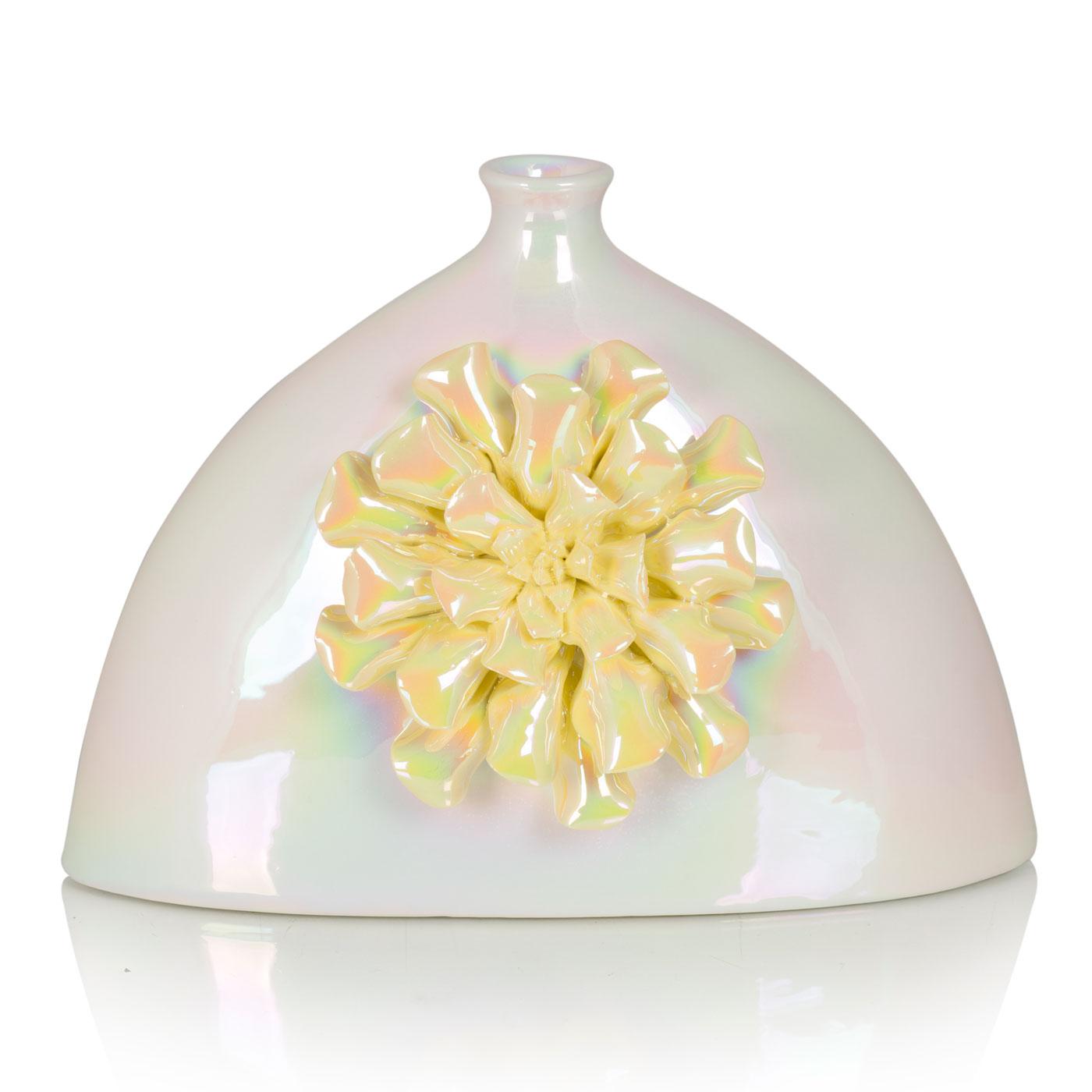 {} Home Philosophy Ваза Cindia Цвет: Перламутровый-Желтый (10х19х27 см) ваза сияние цвет желтый 51 см 1984744