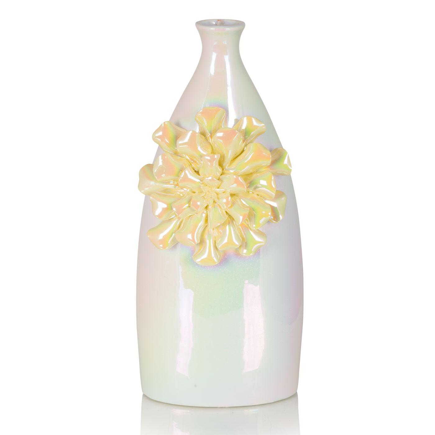 {} Home Philosophy Ваза Cindia Цвет: Перламутровый-Желтый (9х14х34 см) ваза керамическая 14 х 9 х 30 см