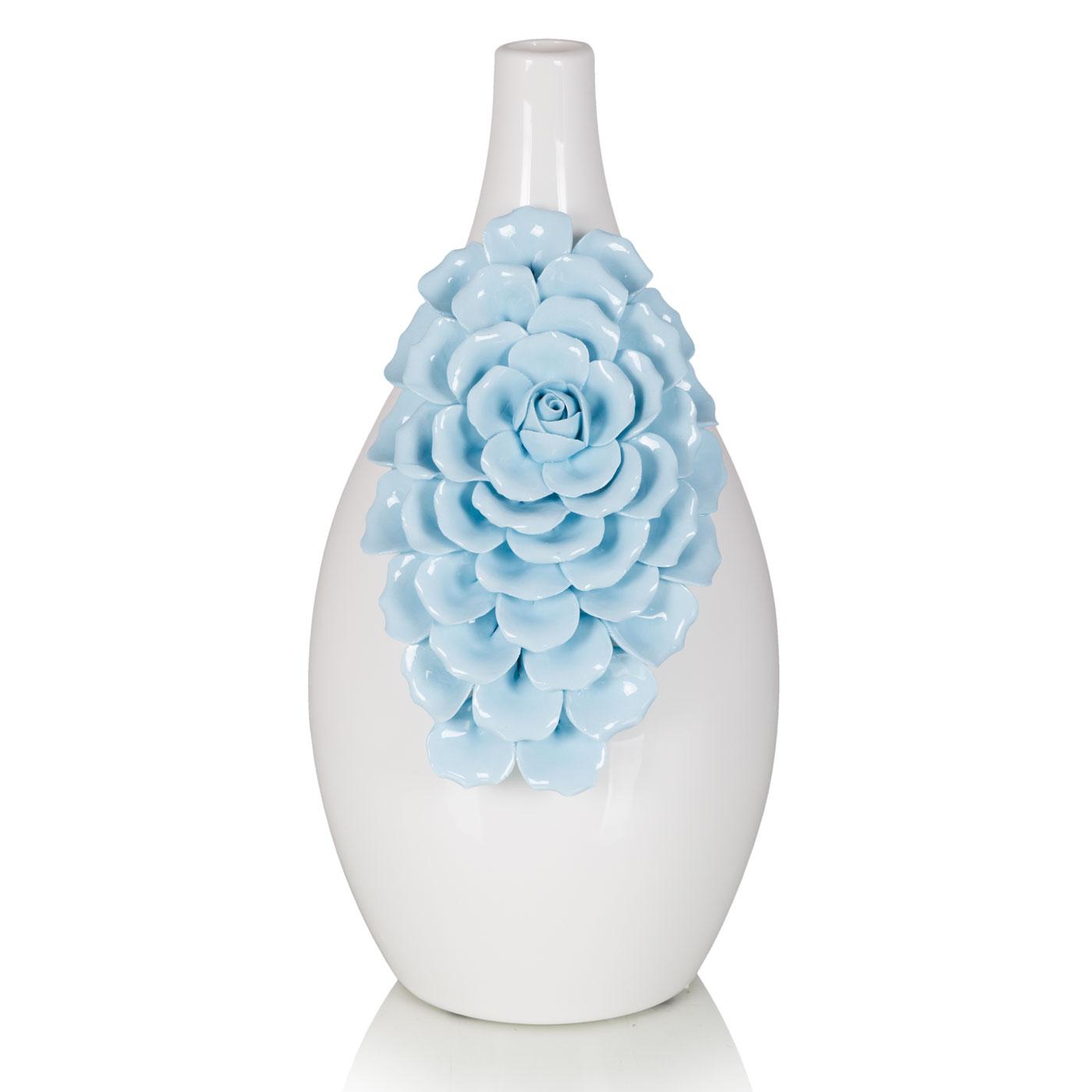 {} Home Philosophy Ваза Stefania Цвет: Белый-Голубой (13х29 см) ваза кручёная цвет белый 51 см 1025307