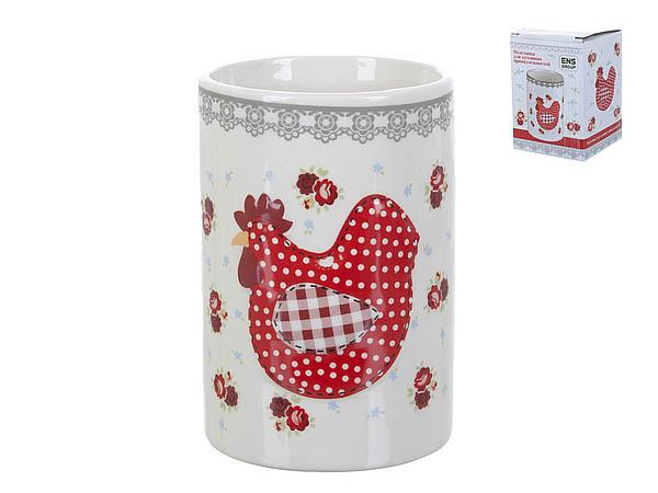 {} ENS GROUP Подставка для столовых приборов Красный Петушок (8х12 см) ens group подставка для кухонных принадлежностей красный петушок 9х13 см