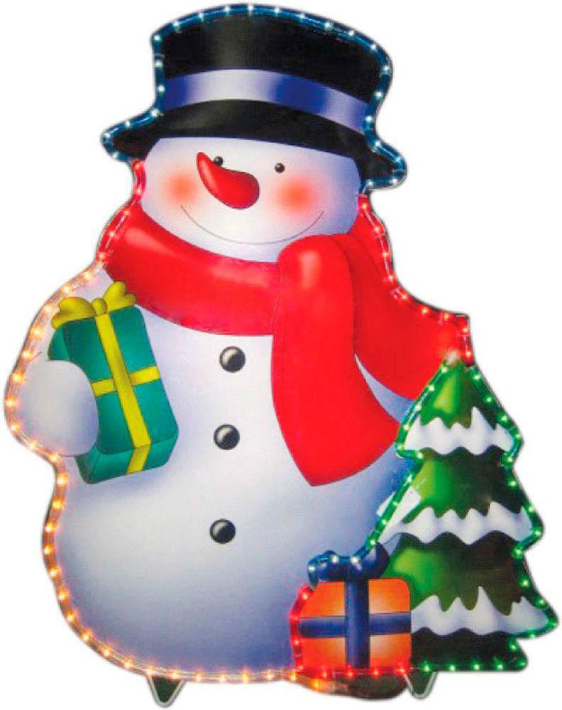 {}  Световая фигура Снеговичок (62х79 см) световая фигура снеговички 37х45 см