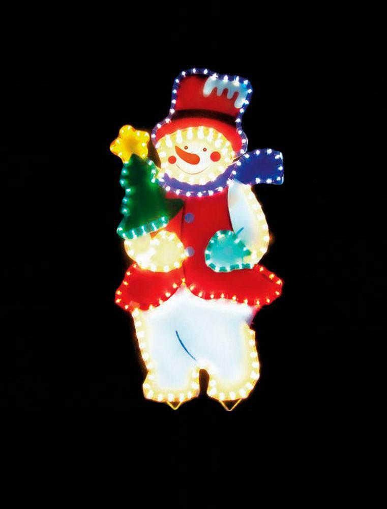 {}  Световая фигура Снеговик (45х67 см) световая фигура снеговички 37х45 см