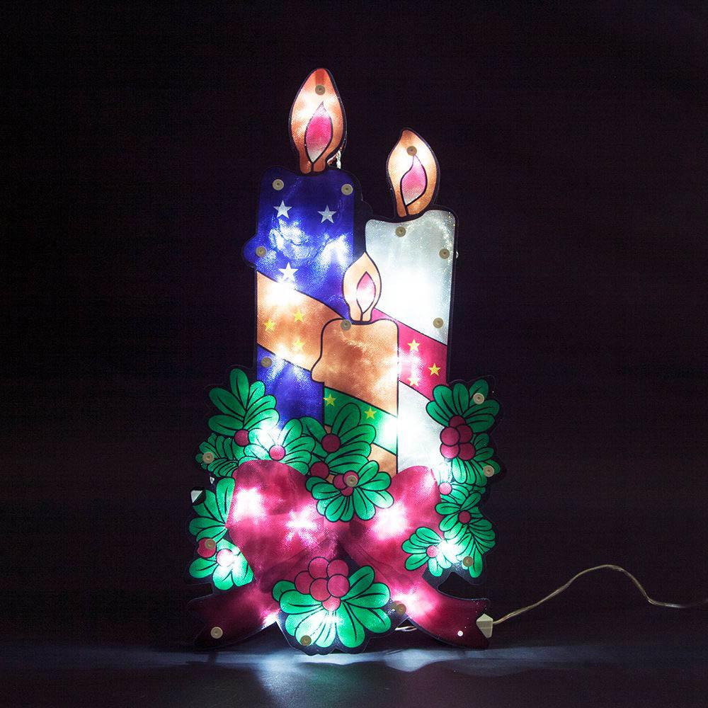 {}  Световая фигура Три Свечи (24х44 см) световая фигура снеговички 37х45 см
